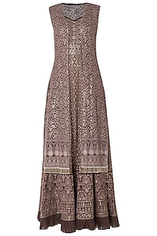 Brown embroidered gown with jacket by SOLE AFFAIR