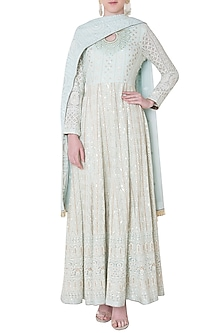 Powder blue embroidered gown with dupatta by SOLE AFFAIR