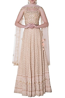 Rose pink embroidery georgette lehenga set by SOLE AFFAIR