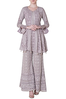 Lilac embroidered peplum kurta with pants by SOLE AFFAIR