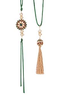 Gold Finish Multi Colored Floral Pacchi Rakhi & Lumba Set by SONNET