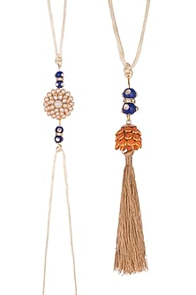 Gold Finish Floral Pacchi Rakhi & Lumba Set by SONNET