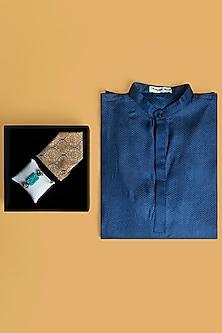 Combo Of Blue Kurta Set & Rakhi Gift Hamper by SONNET