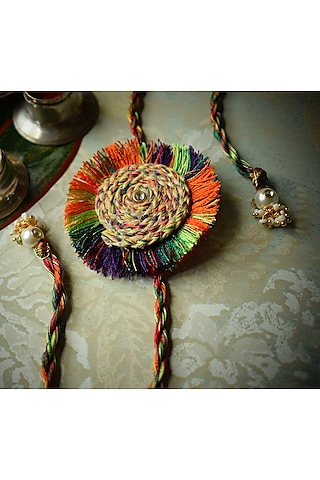 Multi Colored Rakhi With Thread Work by Sonnet