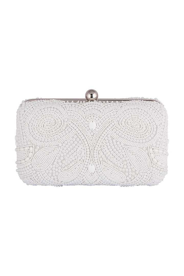 White Clutch With Geometric Embroidery by SONNET
