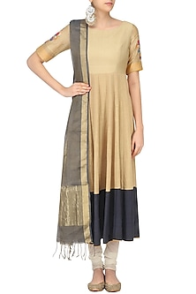 Beige Floral Motif Quilted Anarkali with Contrast Dupatta by Sloh Designs