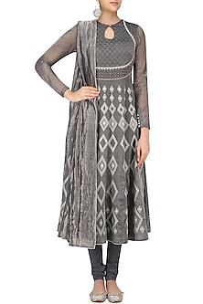Grey Aari Embroidered Anarkali Kurta Set by Sloh Designs