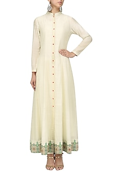 Beige Front Open Jacket Kurta by Sloh Designs