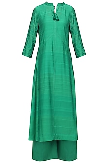 Prakeet Green Dori Work Kurta with Palazzo Pants Set by Sloh Designs