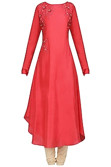 Candy Red Dori Work Asymmetrical Kurta by Sloh Designs