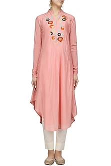 Ballet Pink Thread Work Asymmetrical Kurta with Pants Set by Sloh Designs