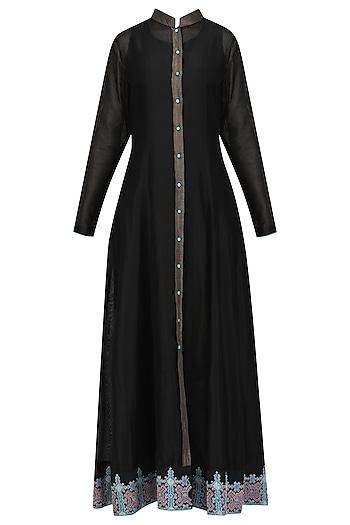 Black Front Open Jacket Kurta by Sloh Designs