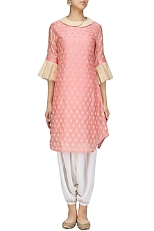 Ballet Pink Tissue Chanderi Kurta with Dhoti Pants Set by Sloh Designs