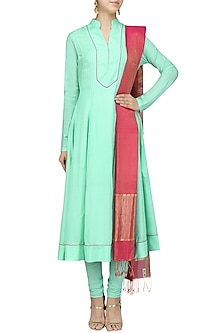 Mint Hand Beaded Anarkali Set by Sloh Designs