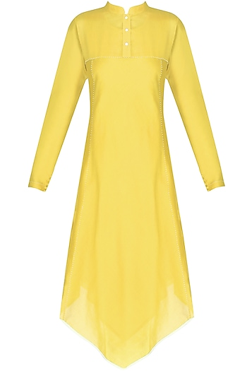 Yellow Asymmetric Long Kurta by Sloh Designs