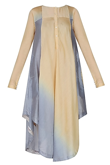 Coffee And Ice Blue Color Ombre Shaded Asymmetric Long Kurta by Sloh Designs