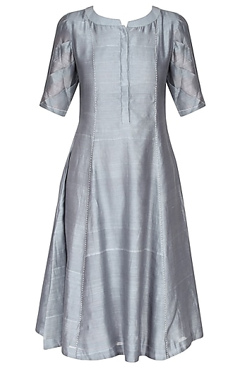 Lilac And Grey Ombre Shaded Pleated Kurta by Sloh Designs
