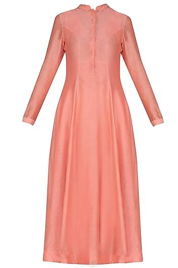 Peach Pleated Long Kurta by Sloh Designs