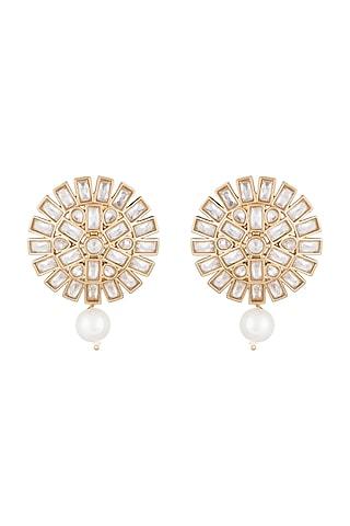 Matte Gold Finish Uncut Flower Pearl Drop & Stone Stud Earrings by Shillpa Purii