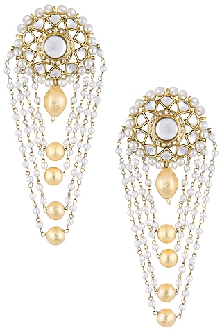 Gold plated multi layered drop earrings by Shillpa Purii