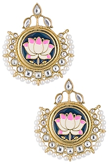 Gold plated meenakari lotus earrings by Shillpa Purii