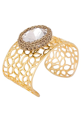 Gold plated adjustable crochet cuff by Shillpa Purii