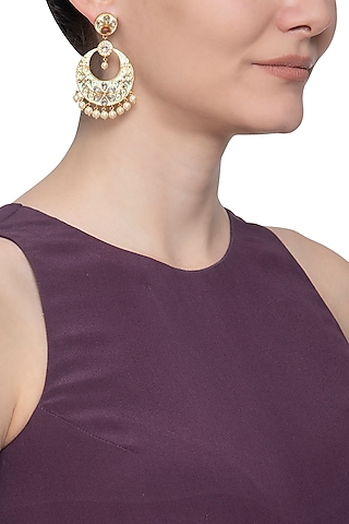 Gold plated pastel green chandbali earrings by Shillpa Purii