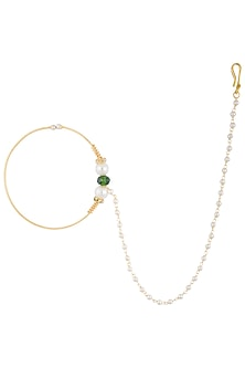 Gold plated green beaded nose pin by Shillpa Purii