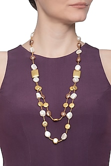Gold plated pearl double layered necklace by Shillpa Purii
