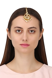 Gold Finish Kundan and Pearls Maangtika by Shillpa Purii