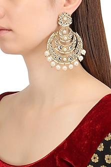 Gold Finish Kundan and Pearls Chandbali Earrings by Shillpa Purii