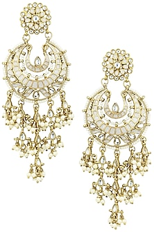 Gold Finish Kundan and White Meena Work Chandbali Earrings by Shillpa Purii