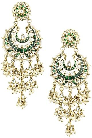 Gold Finish Kundan and Green Meena Work Chandbali Earrings by Shillpa Purii