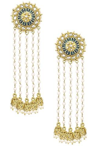 Gold Finish Kundan and Blue Meena Work Jhumki Earrings by Shillpa Purii