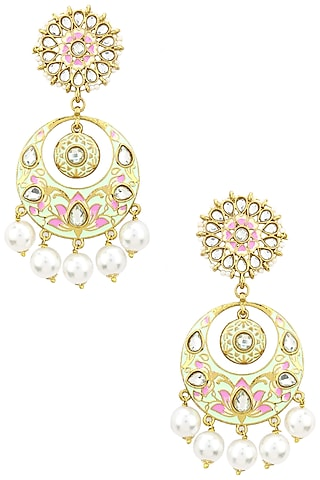 Gold Finish Kundan, Mint Green and Pink Meena Work Chandbali Earrings by Shillpa Purii