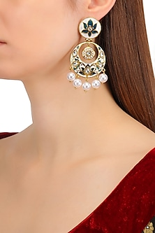 Gold Finish Kundan, Navy Blue and White Meena Work Chandbali Earrings by Shillpa Purii