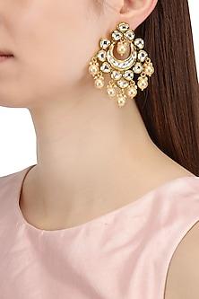 Gold Finish Kundan and Pearls Abstract Chandbali Earrings by Shillpa Purii