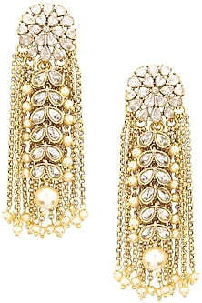 Gold Finish Kundan and Chain Tassels Earrings by Shillpa Purii