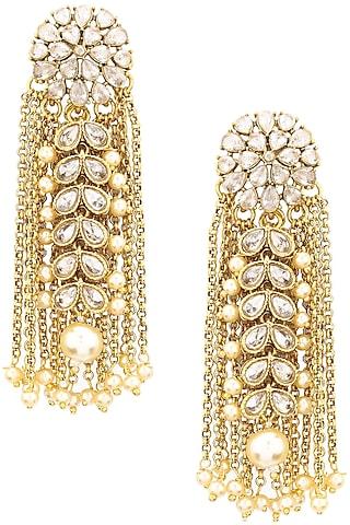 Gold Finish Kundan and Chain Tassels Earrings by Shillpa Purii