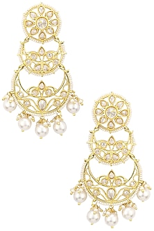 Gold Finish Double Layered Kundan and Pearls Chandbali Earrings by Shillpa Purii