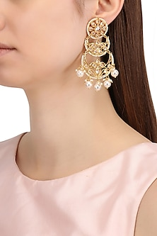 Gold Finish Double Layered Kundan and Pearls Chandbali Earrings by Shillpa Purii
