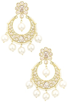 Gold Finish Single Layer Kundan and Pearls Chandbali Earrings by Shillpa Purii