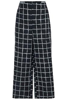 Black Geometric Block Printed Palazzo Pants by Silkwaves