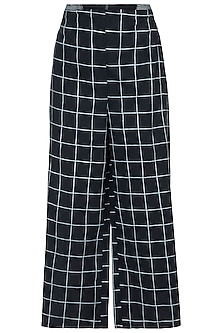 Black Geometric Block Printed Palazzo Pants by Silkwaves