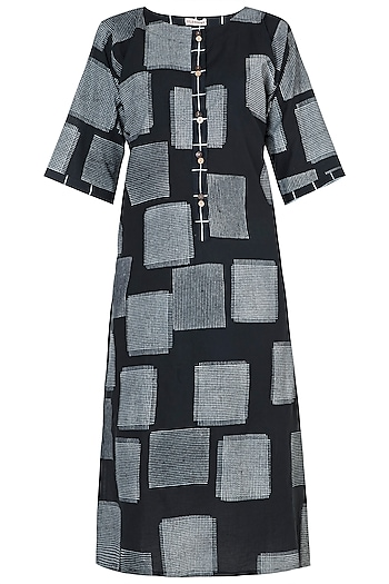 Black Hand Block Printed Kurta by Silkwaves