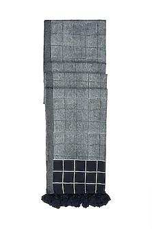 Black Hand Block Printed Dupatta by Silkwaves