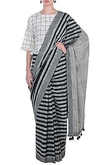 Black Geometric Block Printed Saree by Silkwaves