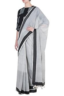 Ivory & Black Block Printed Saree by Silkwaves