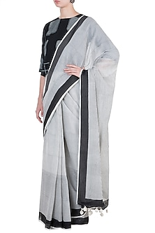 Ivory & Black Block Printed Saree by Silkwaves