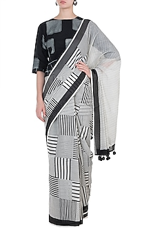 Ivory Hand Block Printed Saree by Silkwaves